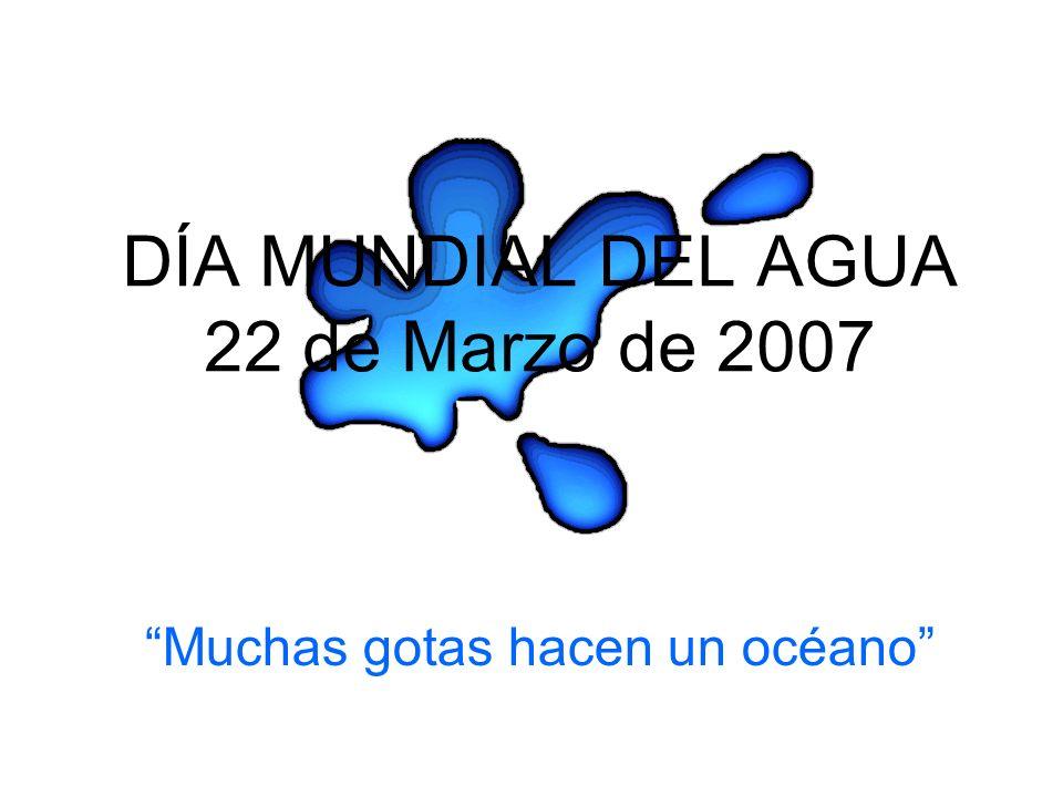 DÍA MUNDIAL DEL AGUA 22 de Marzo de 2007 Muchas gotas hacen un océano