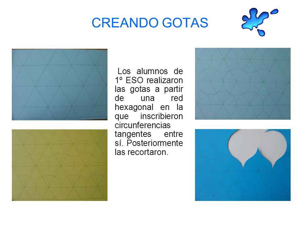 CREANDO GOTAS Los alumnos de 1º ESO realizaron las gotas a partir de una red hexagonal en la que inscribieron circunferencias tangentes entre sí.