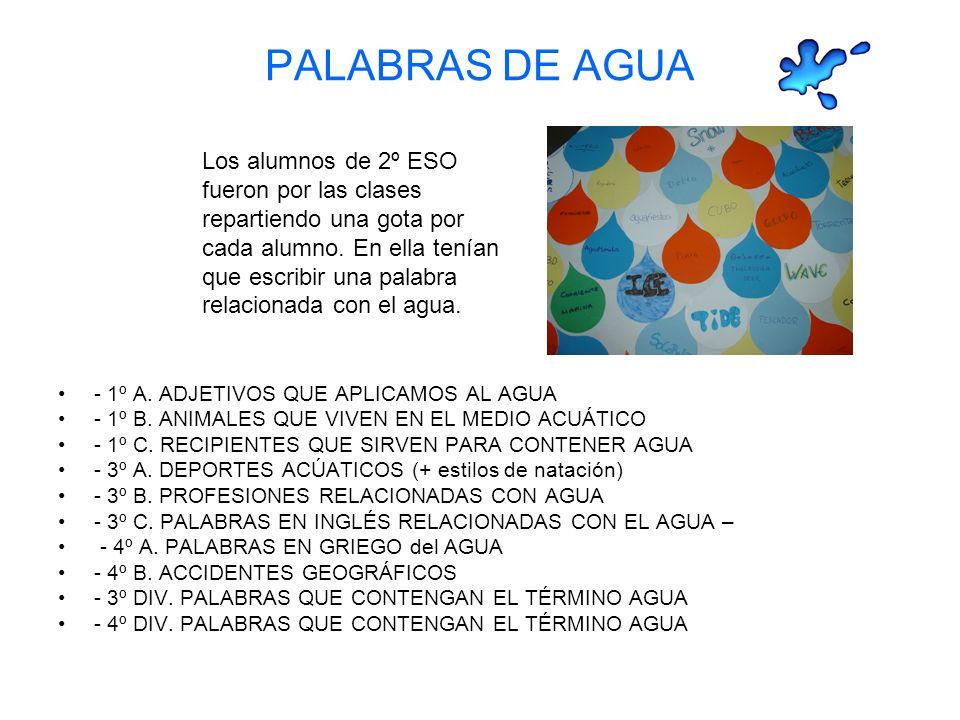 PALABRAS DE AGUA - 1º A.ADJETIVOS QUE APLICAMOS AL AGUA - 1º B.