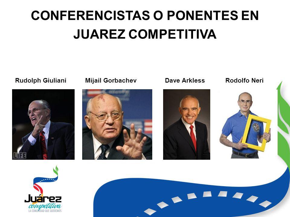 CONFERENCISTAS O PONENTES EN JUAREZ COMPETITIVA Rudolph GiulianiMijail GorbachevDave ArklessRodolfo Neri