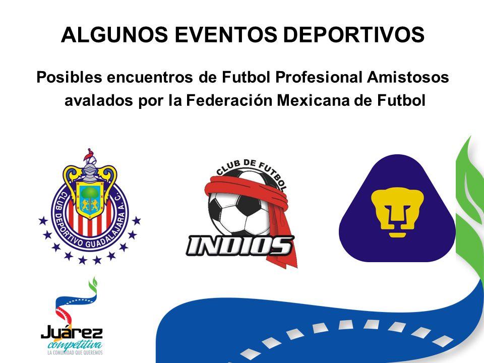 ALGUNOS EVENTOS DEPORTIVOS Posibles encuentros de Futbol Profesional Amistosos avalados por la Federación Mexicana de Futbol