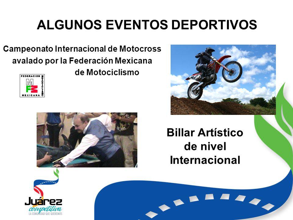 ALGUNOS EVENTOS DEPORTIVOS Campeonato Internacional de Motocross avalado por la Federación Mexicana de Motociclismo Billar Artístico de nivel Internacional