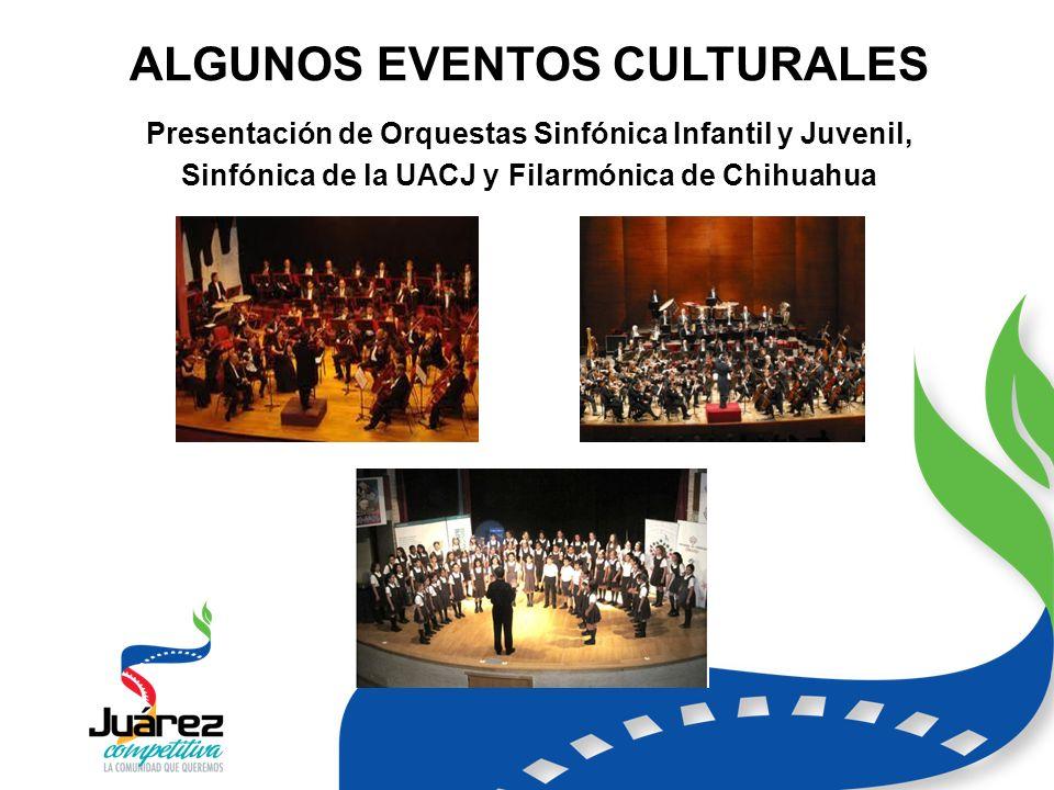 ALGUNOS EVENTOS CULTURALES Presentación de Orquestas Sinfónica Infantil y Juvenil, Sinfónica de la UACJ y Filarmónica de Chihuahua