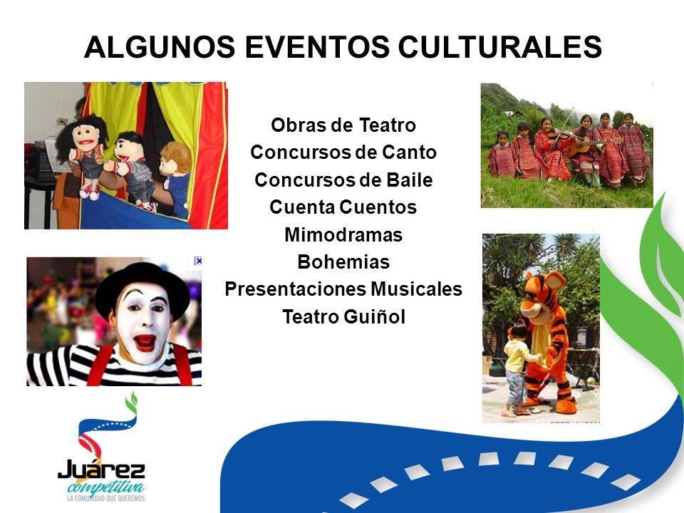 ALGUNOS EVENTOS CULTURALES Obras de Teatro Concursos de Canto Concursos de Baile Cuenta Cuentos Mimodramas Bohemias Presentaciones Musicales Teatro Guiñol