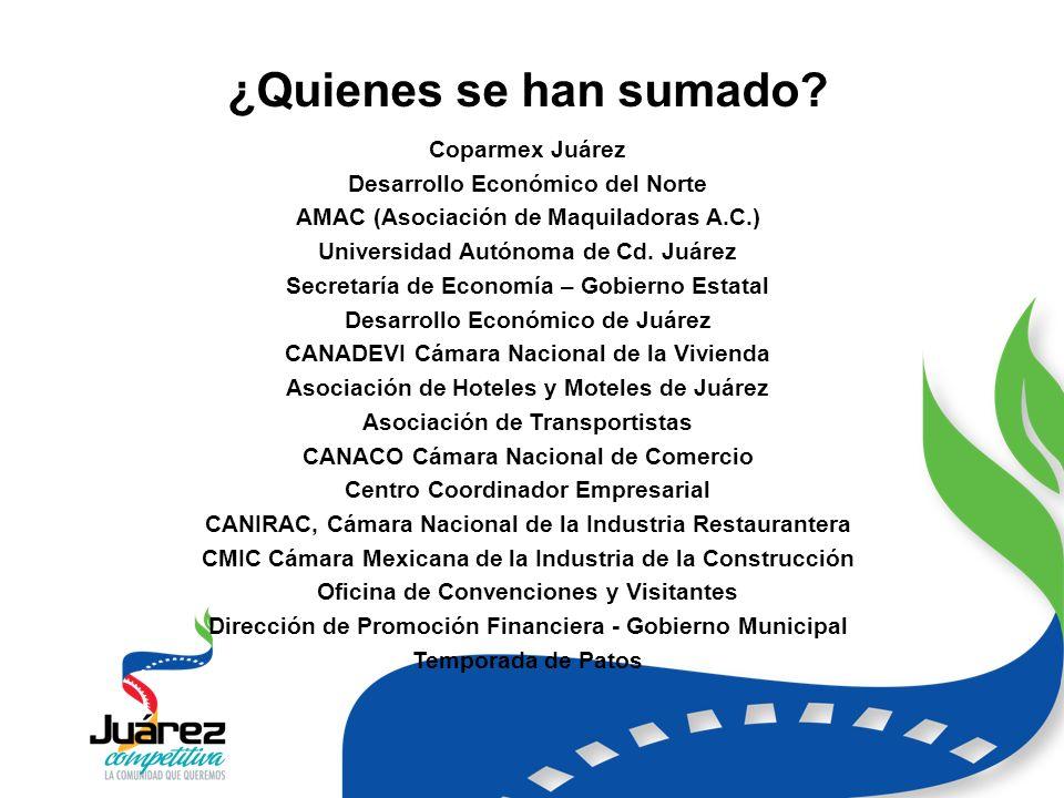 Coparmex Juárez Desarrollo Económico del Norte AMAC (Asociación de Maquiladoras A.C.) Universidad Autónoma de Cd.