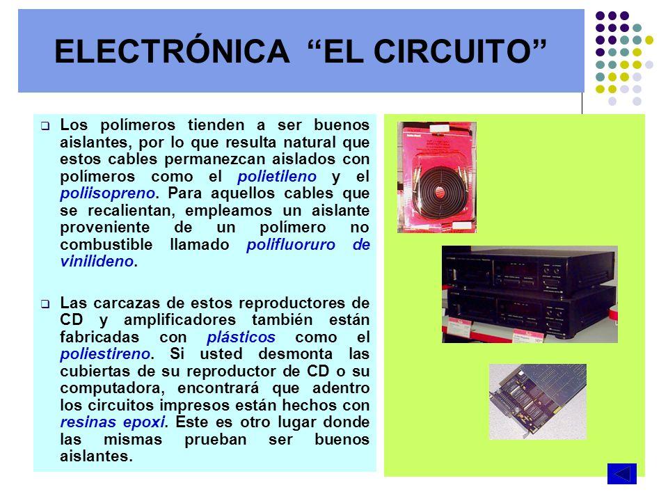 ELECTRÓNICA EL CIRCUITO Los polímeros tienden a ser buenos aislantes, por lo que resulta natural que estos cables permanezcan aislados con polímeros c
