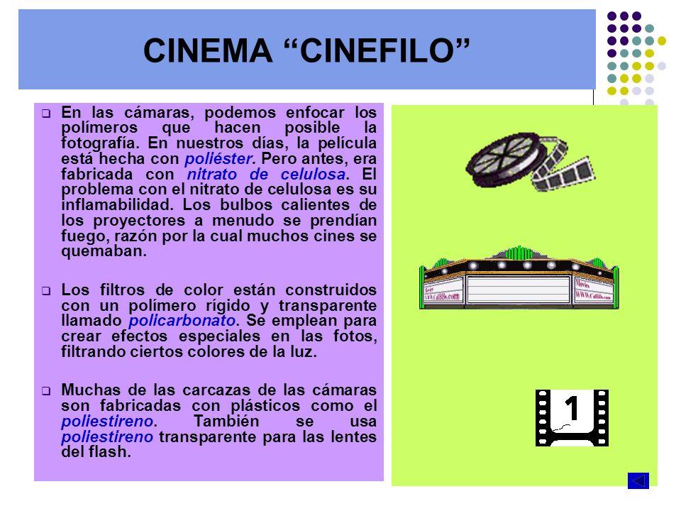 CINEMA CINEFILO En las cámaras, podemos enfocar los polímeros que hacen posible la fotografía. En nuestros días, la película está hecha con poliéster.