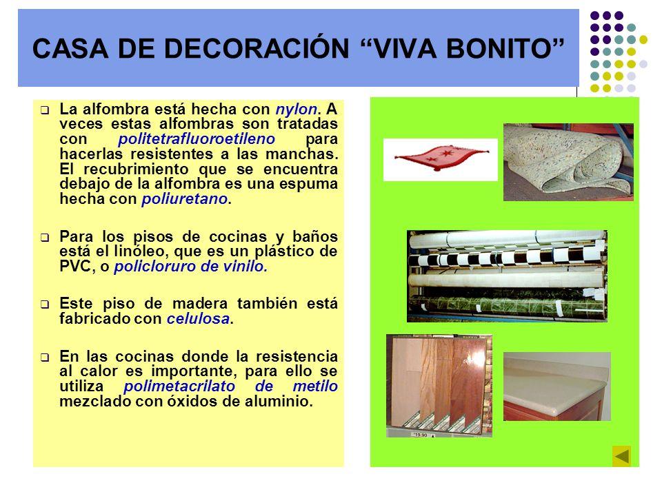 CASA DE DECORACIÓN VIVA BONITO La alfombra está hecha con nylon. A veces estas alfombras son tratadas con politetrafluoroetileno para hacerlas resiste