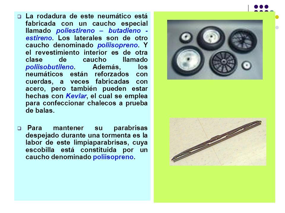 La rodadura de este neumático está fabricada con un caucho especial llamado poliestireno – butadieno - estireno. Los laterales son de otro caucho deno