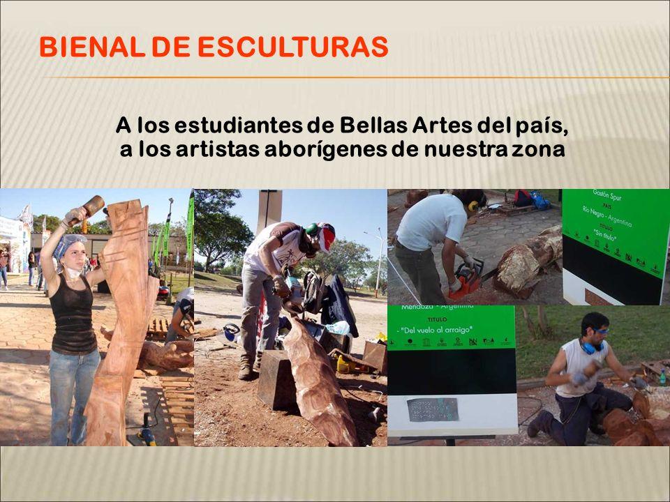 A los estudiantes de Bellas Artes del país, a los artistas aborígenes de nuestra zona BIENAL DE ESCULTURAS