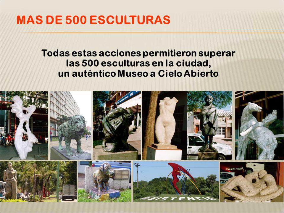Todas estas acciones permitieron superar las 500 esculturas en la ciudad, un auténtico Museo a Cielo Abierto MAS DE 500 ESCULTURAS