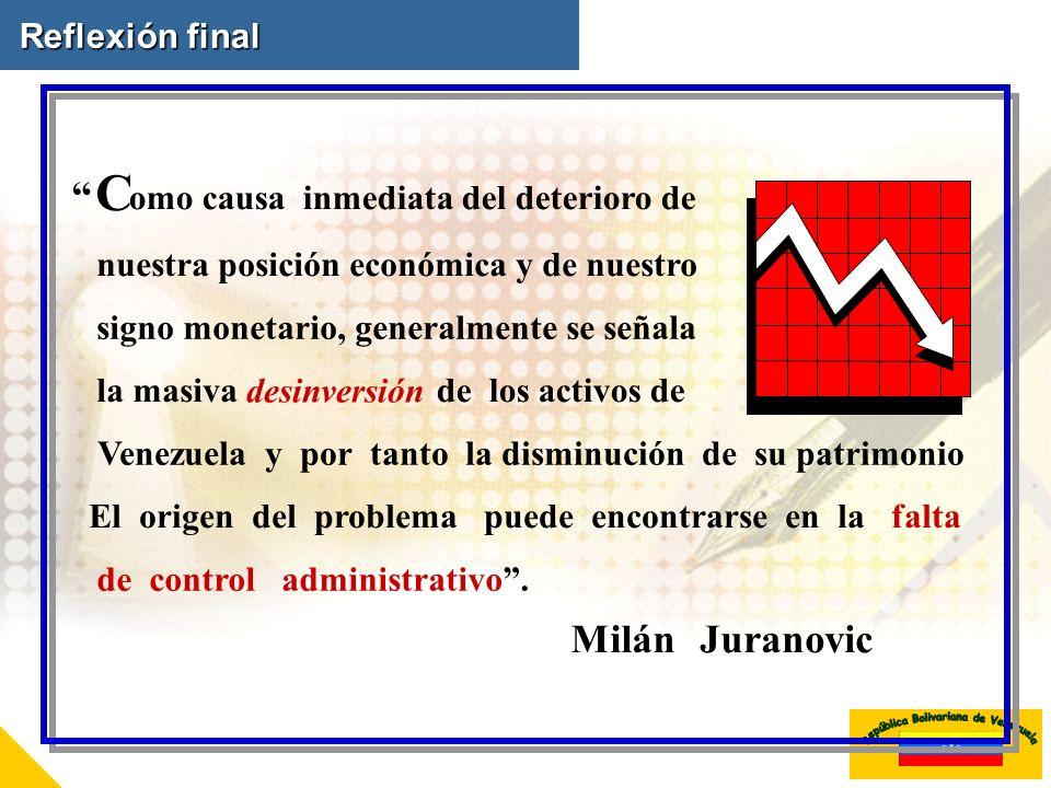 Reflexión final C omo causa inmediata del deterioro de nuestra posición económica y de nuestro signo monetario,generalmente se señala la masiva desinv