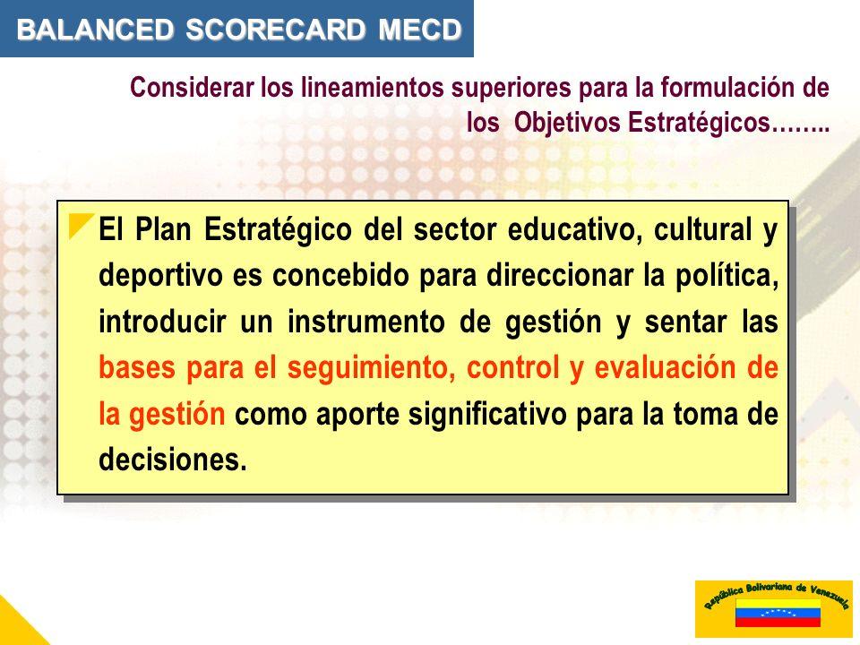 Considerar los lineamientos superiores para la formulación de los Objetivos Estratégicos…….. El Plan Estratégico del sector educativo, cultural y depo