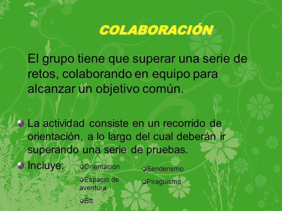 El grupo tiene que superar una serie de retos, colaborando en equipo para alcanzar un objetivo común.