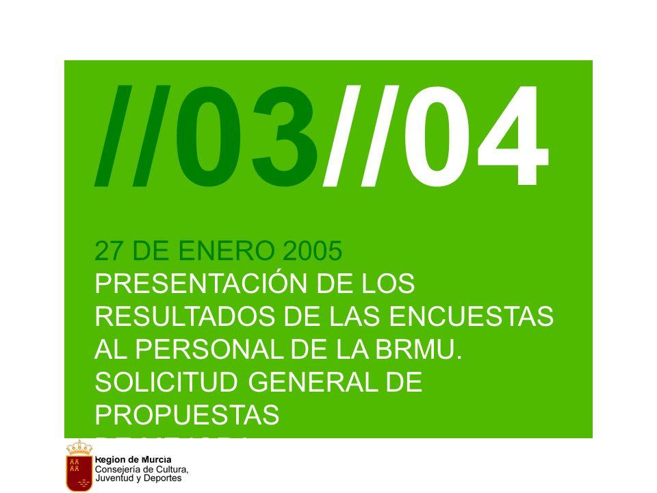 //03//04 27 DE ENERO 2005 PRESENTACIÓN DE LOS RESULTADOS DE LAS ENCUESTAS AL PERSONAL DE LA BRMU.
