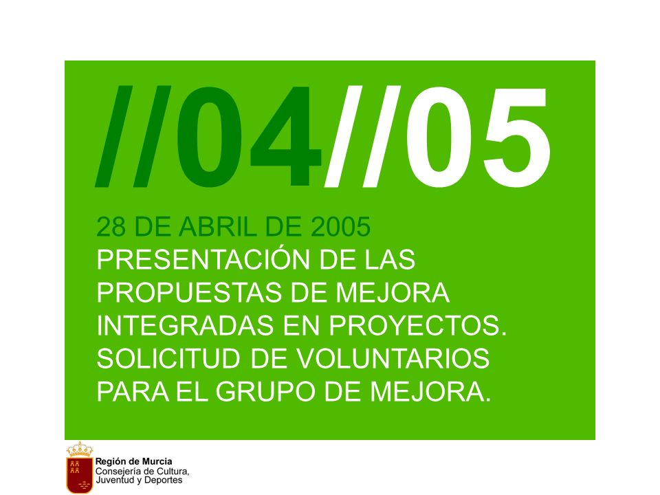 //04//05 28 DE ABRIL DE 2005 PRESENTACIÓN DE LAS PROPUESTAS DE MEJORA INTEGRADAS EN PROYECTOS.