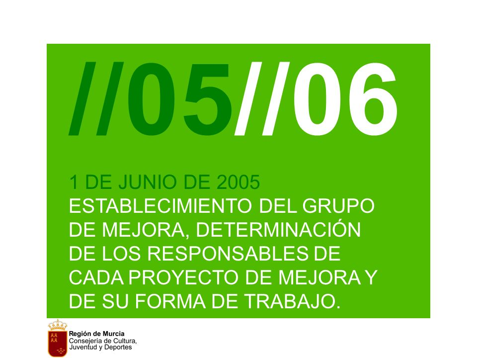 //05//06 1 DE JUNIO DE 2005 ESTABLECIMIENTO DEL GRUPO DE MEJORA, DETERMINACIÓN DE LOS RESPONSABLES DE CADA PROYECTO DE MEJORA Y DE SU FORMA DE TRABAJO.