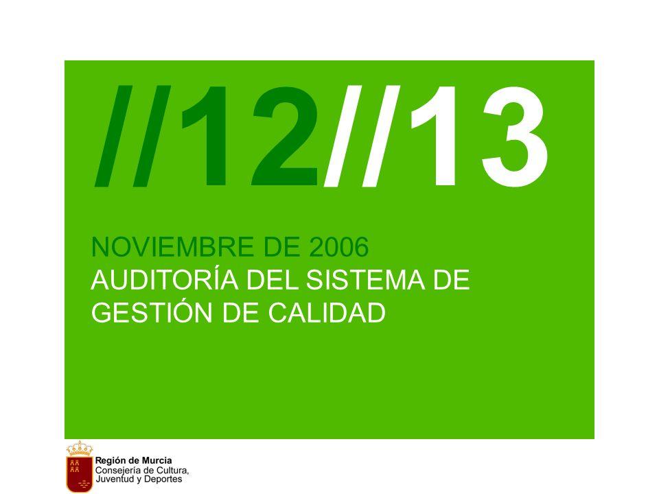 //12//13 NOVIEMBRE DE 2006 AUDITORÍA DEL SISTEMA DE GESTIÓN DE CALIDAD