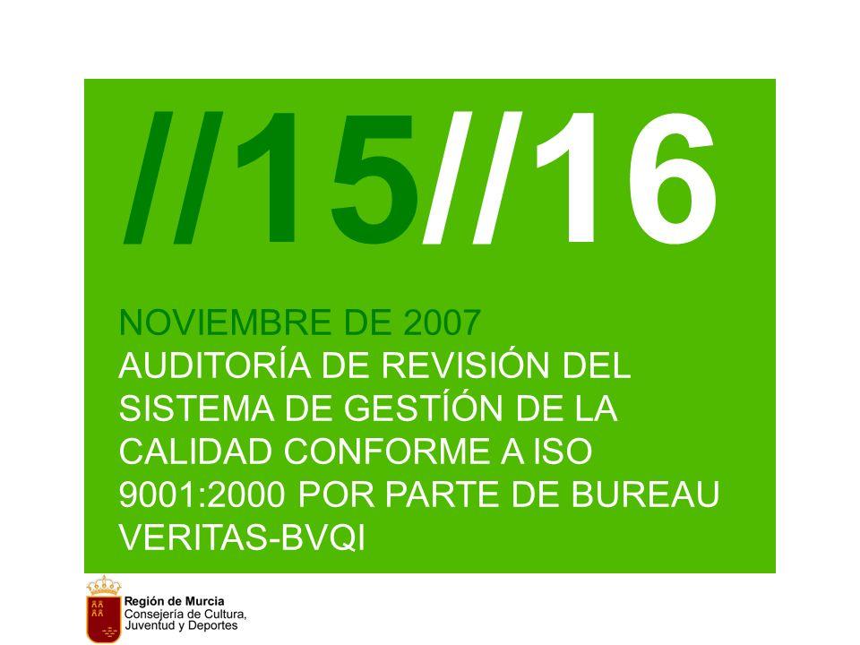 //15//16 NOVIEMBRE DE 2007 AUDITORÍA DE REVISIÓN DEL SISTEMA DE GESTÍÓN DE LA CALIDAD CONFORME A ISO 9001:2000 POR PARTE DE BUREAU VERITAS-BVQI