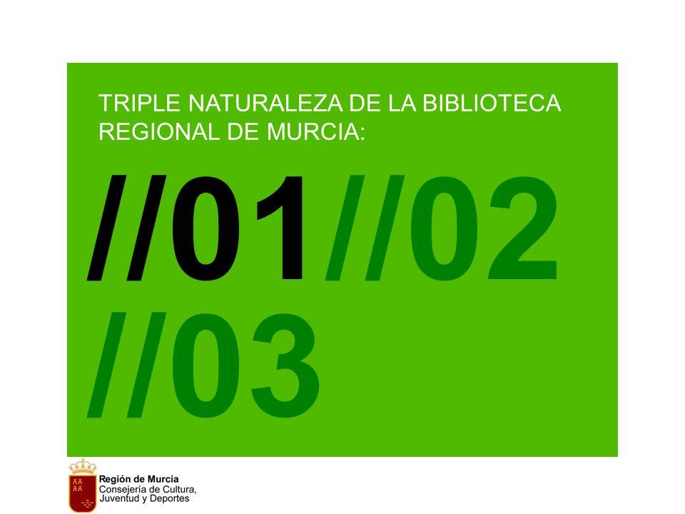 TRIPLE NATURALEZA DE LA BIBLIOTECA REGIONAL DE MURCIA: //01//02//03 //01//02 //03