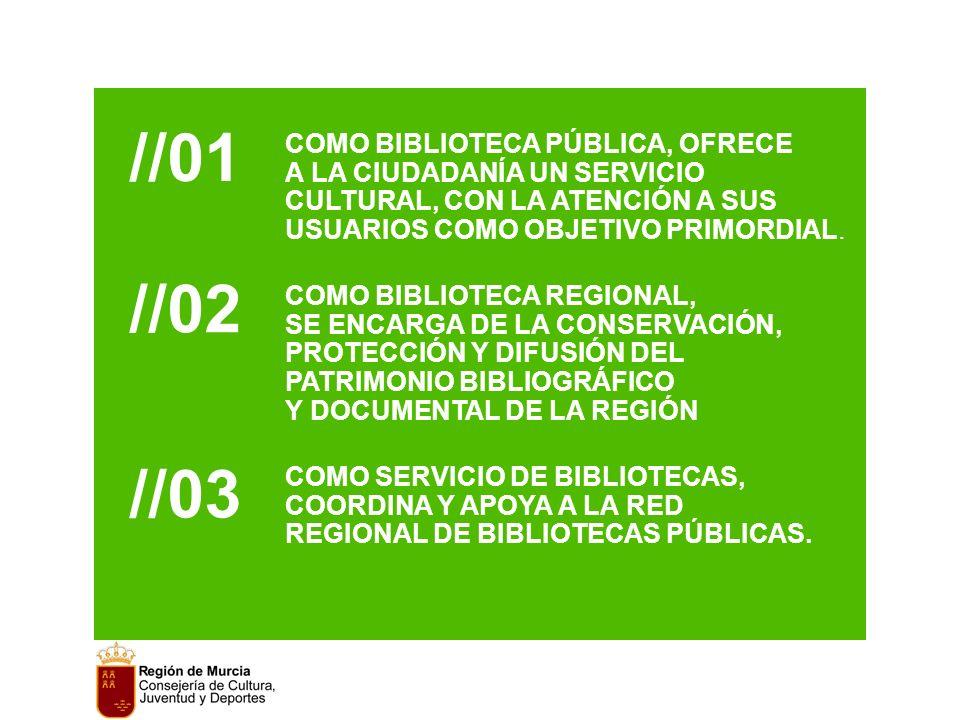 //01 COMO BIBLIOTECA PÚBLICA, OFRECE A LA CIUDADANÍA UN SERVICIO CULTURAL, CON LA ATENCIÓN A SUS USUARIOS COMO OBJETIVO PRIMORDIAL.