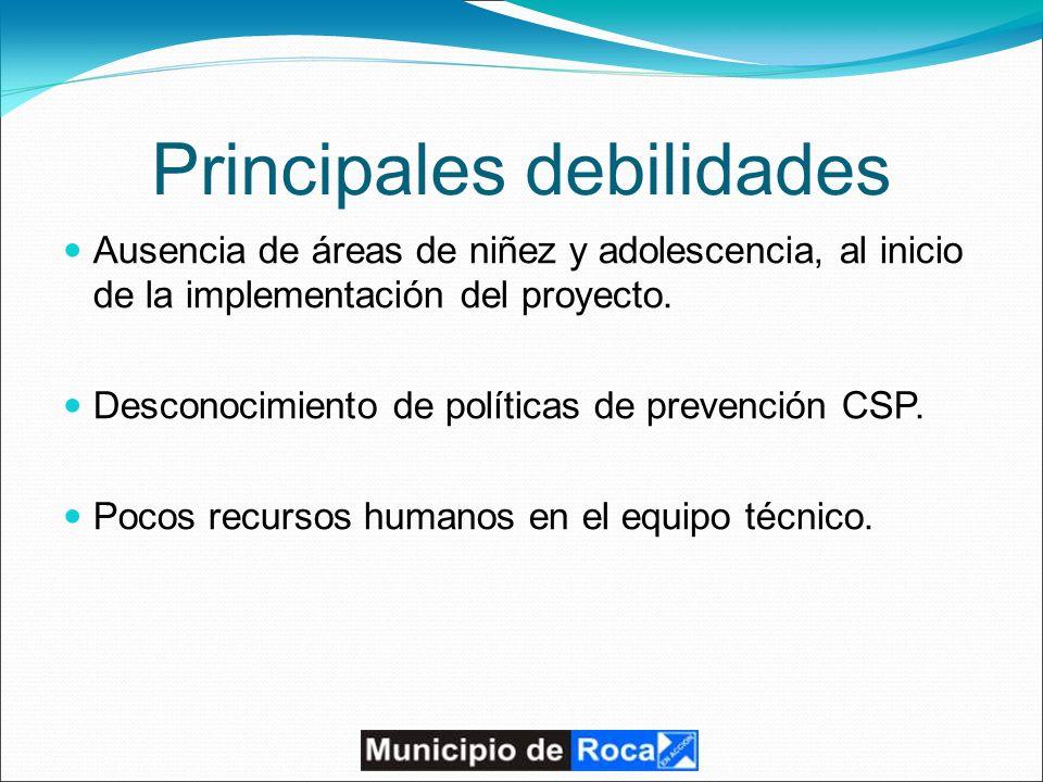 Principales debilidades Ausencia de áreas de niñez y adolescencia, al inicio de la implementación del proyecto.