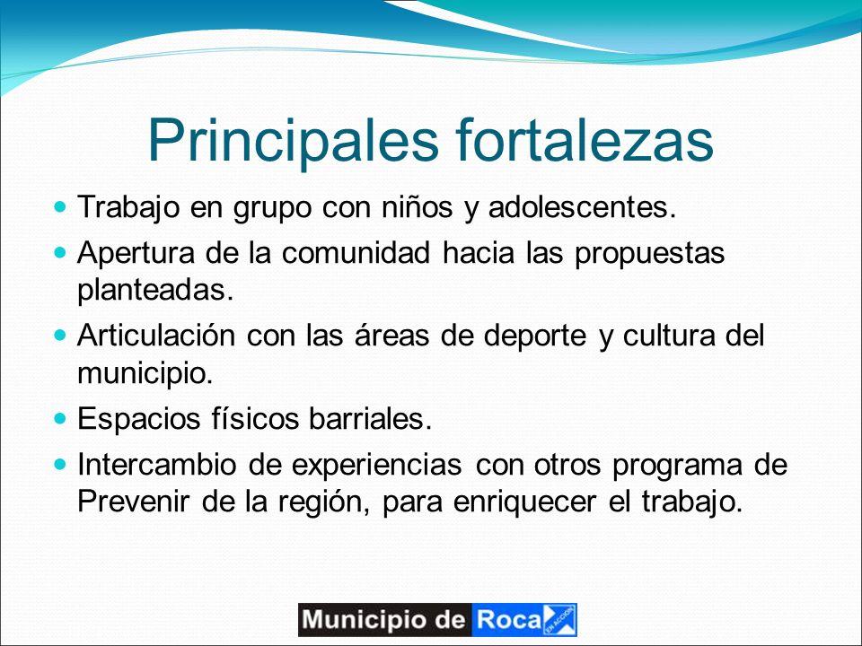 Principales fortalezas Trabajo en grupo con niños y adolescentes.