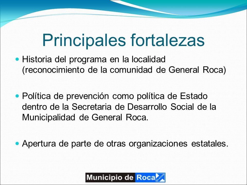 Principales fortalezas Historia del programa en la localidad (reconocimiento de la comunidad de General Roca) Política de prevención como política de Estado dentro de la Secretaria de Desarrollo Social de la Municipalidad de General Roca.