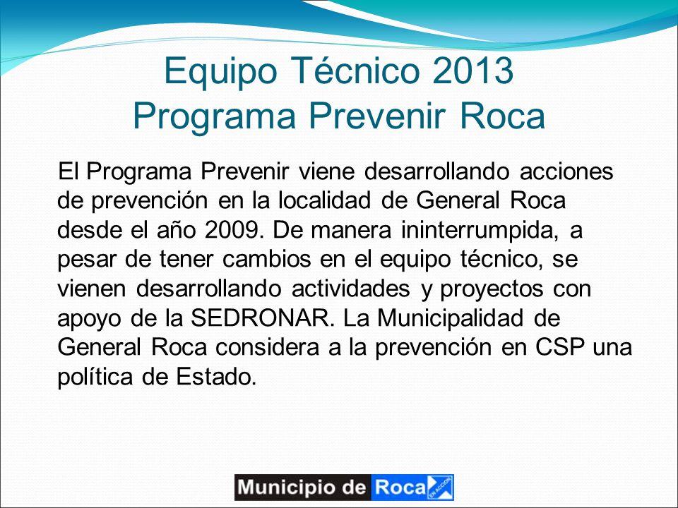 Equipo Técnico 2013 Programa Prevenir Roca El Programa Prevenir viene desarrollando acciones de prevención en la localidad de General Roca desde el año 2009.