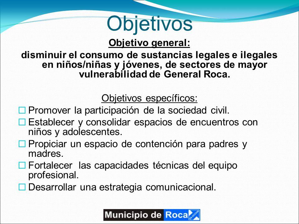 Objetivos Objetivo general: disminuir el consumo de sustancias legales e ilegales en niños/niñas y jóvenes, de sectores de mayor vulnerabilidad de General Roca.