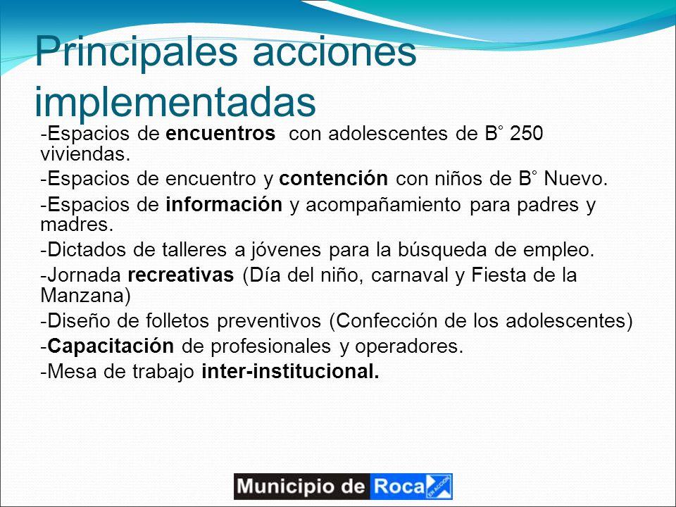 Principales acciones implementadas - Espacios de encuentros con adolescentes de B° 250 viviendas.