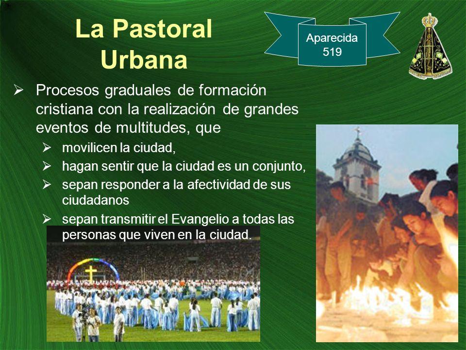 La Pastoral Urbana Procesos graduales de formación cristiana con la realización de grandes eventos de multitudes, que movilicen la ciudad, hagan senti