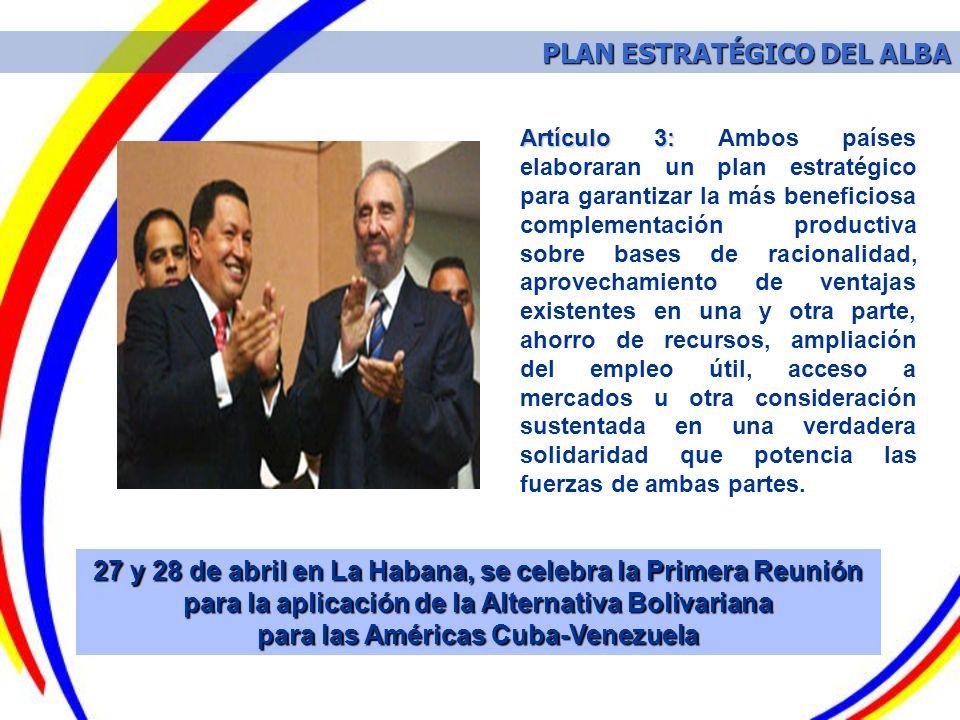 27 y 28 de abril en La Habana, se celebra la Primera Reunión para la aplicación de la Alternativa Bolivariana para las Américas Cuba-Venezuela Artícul