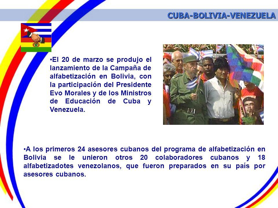 A los primeros 24 asesores cubanos del programa de alfabetización en Bolivia se le unieron otros 20 colaboradores cubanos y 18 alfabetizadotes venezol