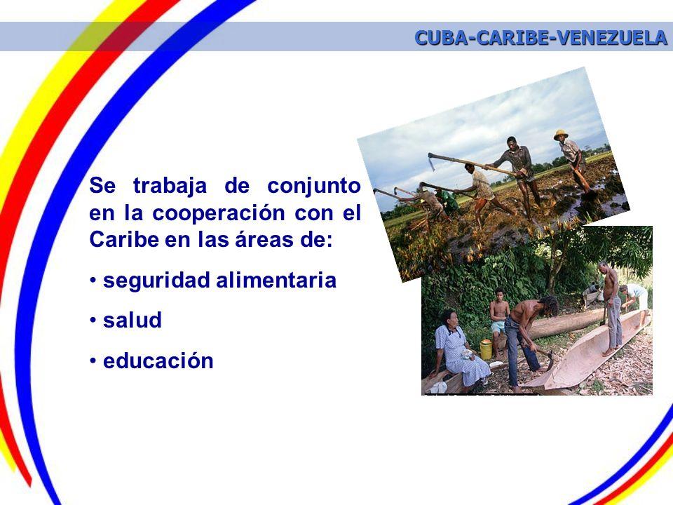 Se trabaja de conjunto en la cooperación con el Caribe en las áreas de: seguridad alimentaria salud educación CUBA-CARIBE-VENEZUELA CUBA-CARIBE-VENEZU