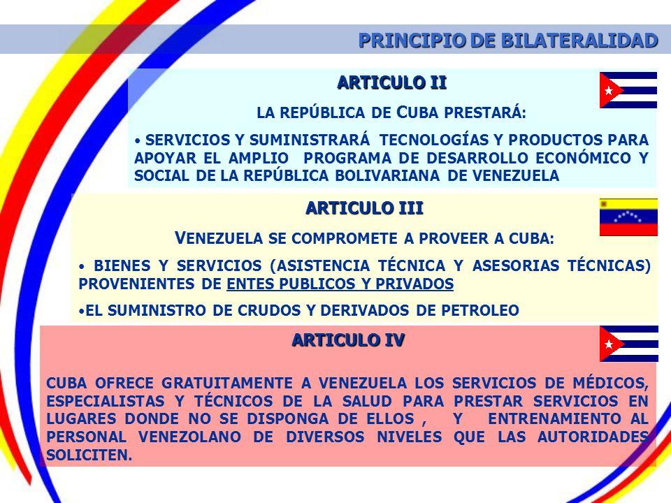 ARTICULO III V ENEZUELA SE COMPROMETE A PROVEER A CUBA: BIENES Y SERVICIOS (ASISTENCIA TÉCNICA Y ASESORIAS TÉCNICAS) PROVENIENTES DE ENTES PUBLICOS Y