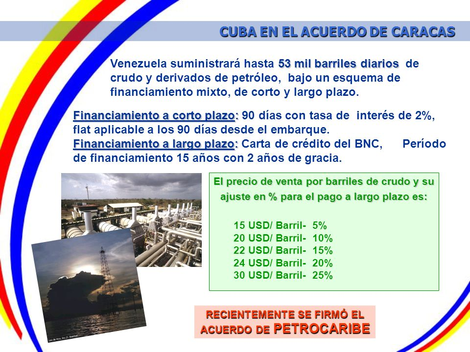 53 mil barriles diarios Venezuela suministrará hasta 53 mil barriles diarios de crudo y derivados de petróleo, bajo un esquema de financiamiento mixto