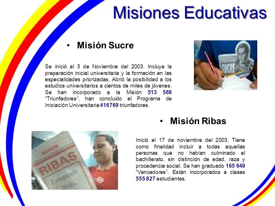 Misiones Educativas Misión Ribas Misión Sucre Se inició el 3 de Noviembre del 2003. Incluye la preparación inicial universitaria y la formación en las