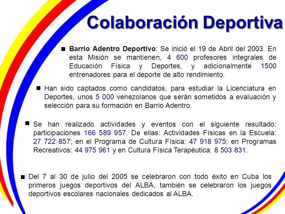 Colaboración Deportiva Barrio Adentro Deportivo: Se inició el 19 de Abril del 2003. En esta Misión se mantienen, 4 600 profesores integrales de Educac