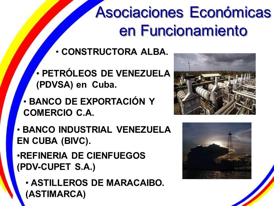 Asociaciones Económicas en Funcionamiento BANCO INDUSTRIAL VENEZUELA EN CUBA (BIVC). CONSTRUCTORA ALBA. PETRÓLEOS DE VENEZUELA (PDVSA) en Cuba. BANCO