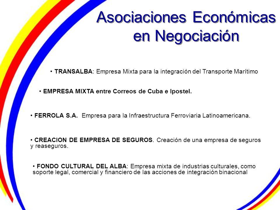 Asociaciones Económicas en Negociación TRANSALBA: Empresa Mixta para la integración del Transporte Marítimo FERROLA S.A. Empresa para la Infraestructu