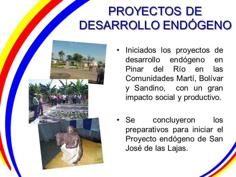 PROYECTOS DE DESARROLLO ENDÓGENO Iniciados los proyectos de desarrollo endógeno en Pinar del Río en las Comunidades Martí, Bolívar y Sandino, con un g