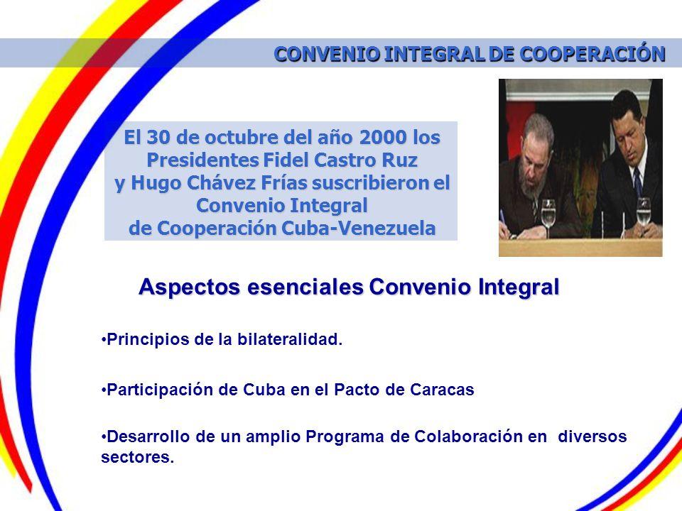 El 30 de octubre del año 2000 los Presidentes Fidel Castro Ruz y Hugo Chávez Frías suscribieron el Convenio Integral de Cooperación Cuba-Venezuela Asp