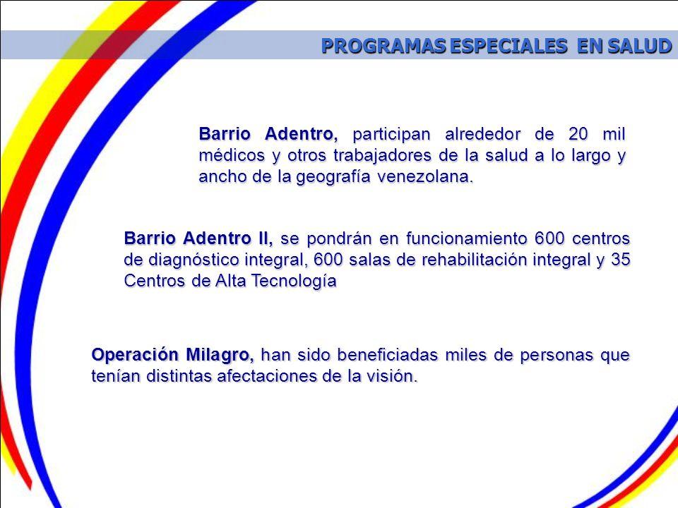PROGRAMAS ESPECIALES EN SALUD PROGRAMAS ESPECIALES EN SALUD Operación Milagro, han sido beneficiadas miles de personas que tenían distintas afectacion
