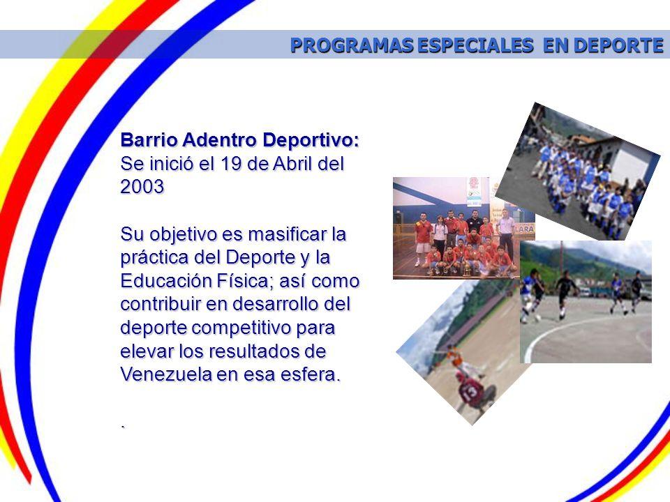 PROGRAMAS ESPECIALES EN DEPORTE PROGRAMAS ESPECIALES EN DEPORTE Barrio Adentro Deportivo: Se inició el 19 de Abril del 2003 Su objetivo es masificar l