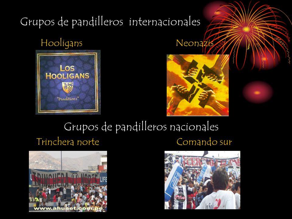 Grupos de pandilleros internacionales HooligansNeonazis Grupos de pandilleros nacionales Trinchera norteComando sur