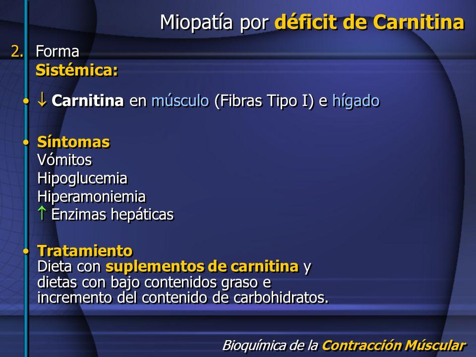 Bioquímica de la Contracción Múscular Miopatía por déficit de Carnitina Carnitina en músculo (Fibras Tipo I) e hígado Síntomas Vómitos Hipoglucemia Hi