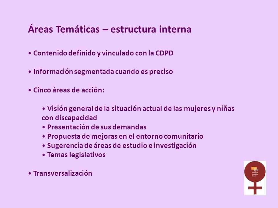 Áreas Temáticas – estructura interna Contenido definido y vinculado con la CDPD Información segmentada cuando es preciso Cinco áreas de acción: Visión
