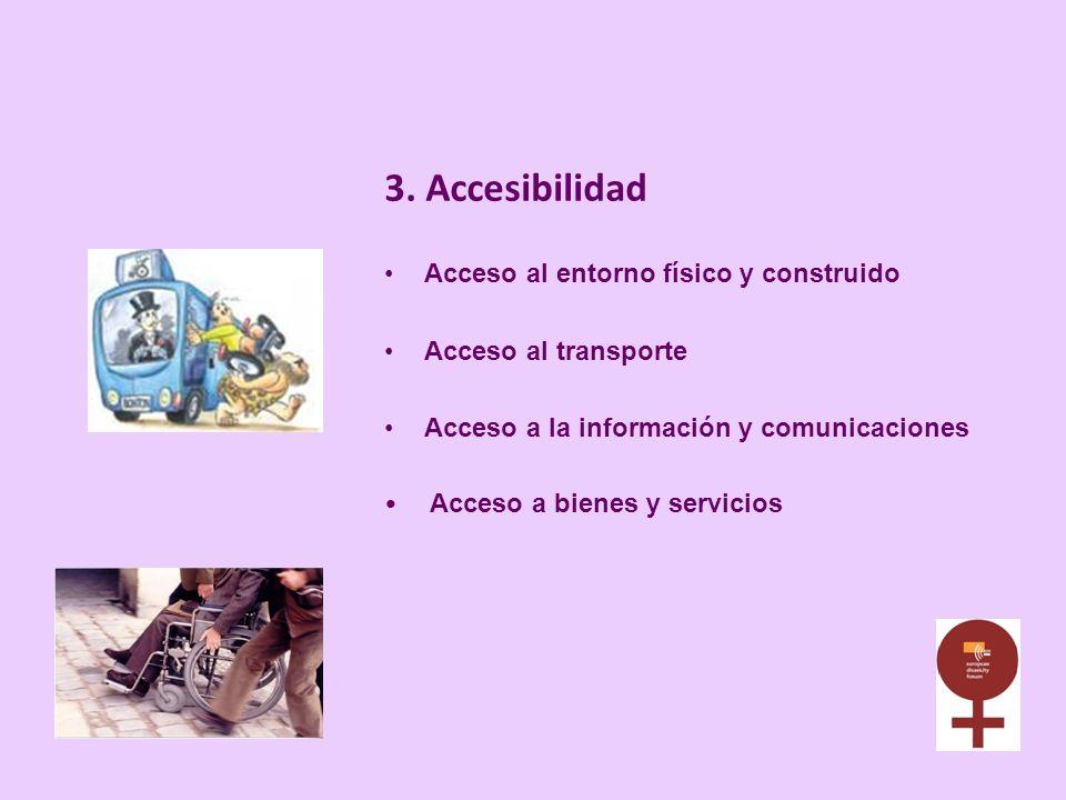 3. Accesibilidad Acceso al entorno físico y construido Acceso al transporte Acceso a la información y comunicaciones Acceso a bienes y servicios