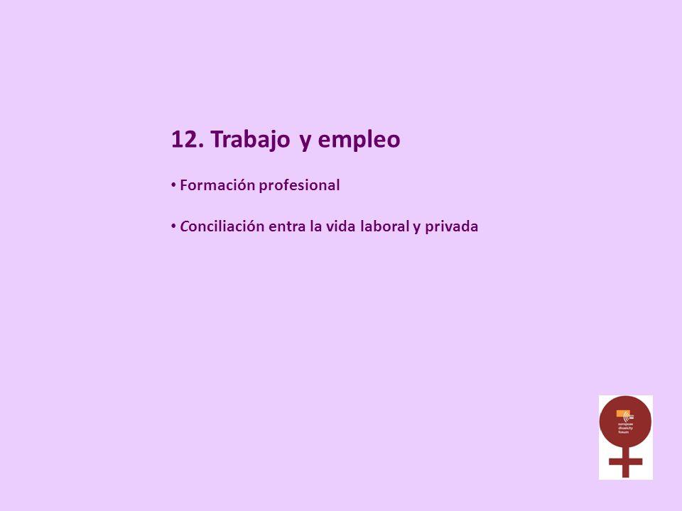 12. Trabajo y empleo Formación profesional Conciliación entra la vida laboral y privada